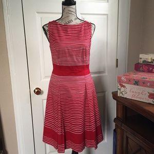 Talbots Petite red striped dress. Sleeveless Sz 6P